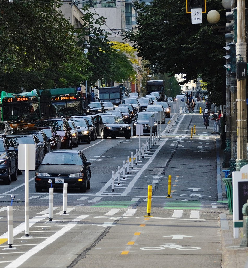 The Second Avenue protected bike lane, looking North from Yesler