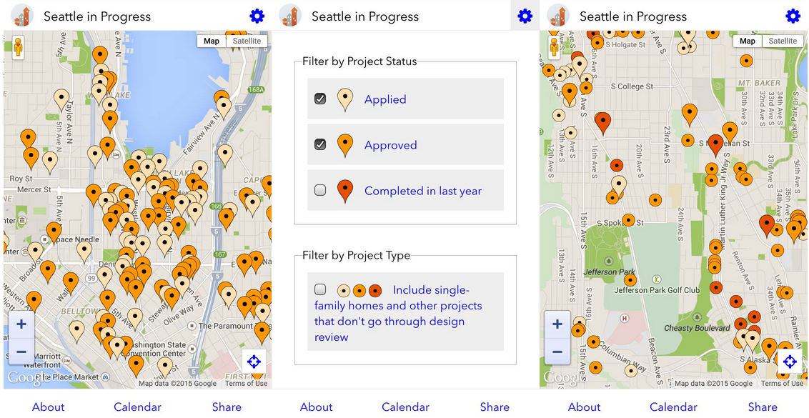 New Seattle In Progress user interface.