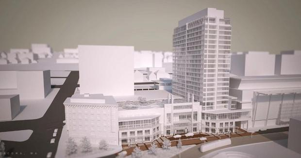 Rendering of new tower hotel in Tacoma.