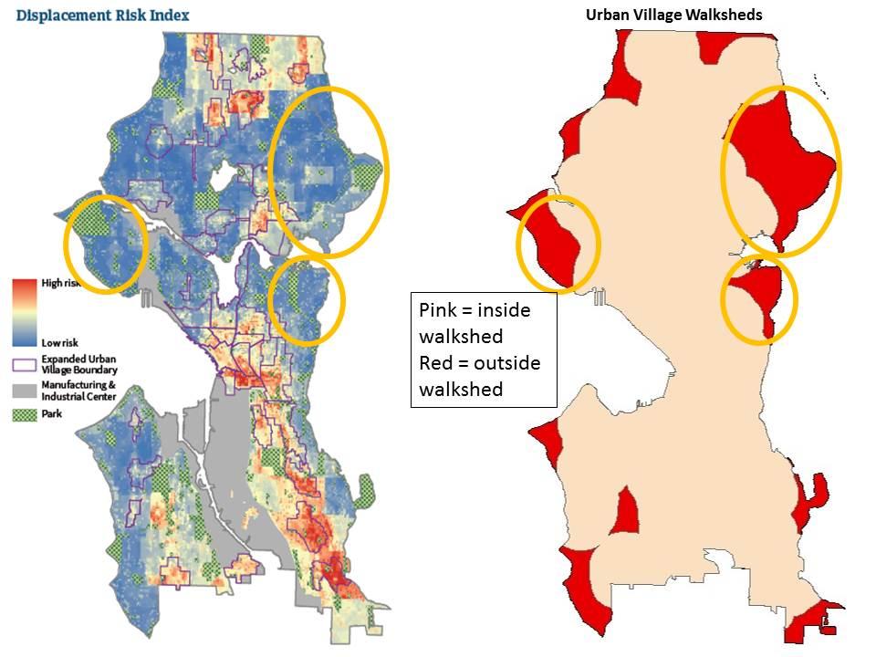Displacement Index compared to proposed Urban Village walksheds (click for larger version).