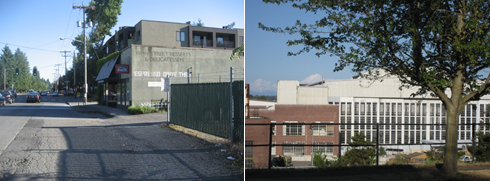 Left: The beginning of a sidewalk at one of the only retail establishments in Sand Point. Right: Large facilities from the Sand Point Naval base now housing recreation activities and major employers like NOAA and the University of Washington.