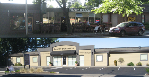 Top: Some businesses on 35th Ave NE are trying to take a more pedestrian-oriented approach. Bottom: Most businesses still sit behind a row of off-street surface parking.