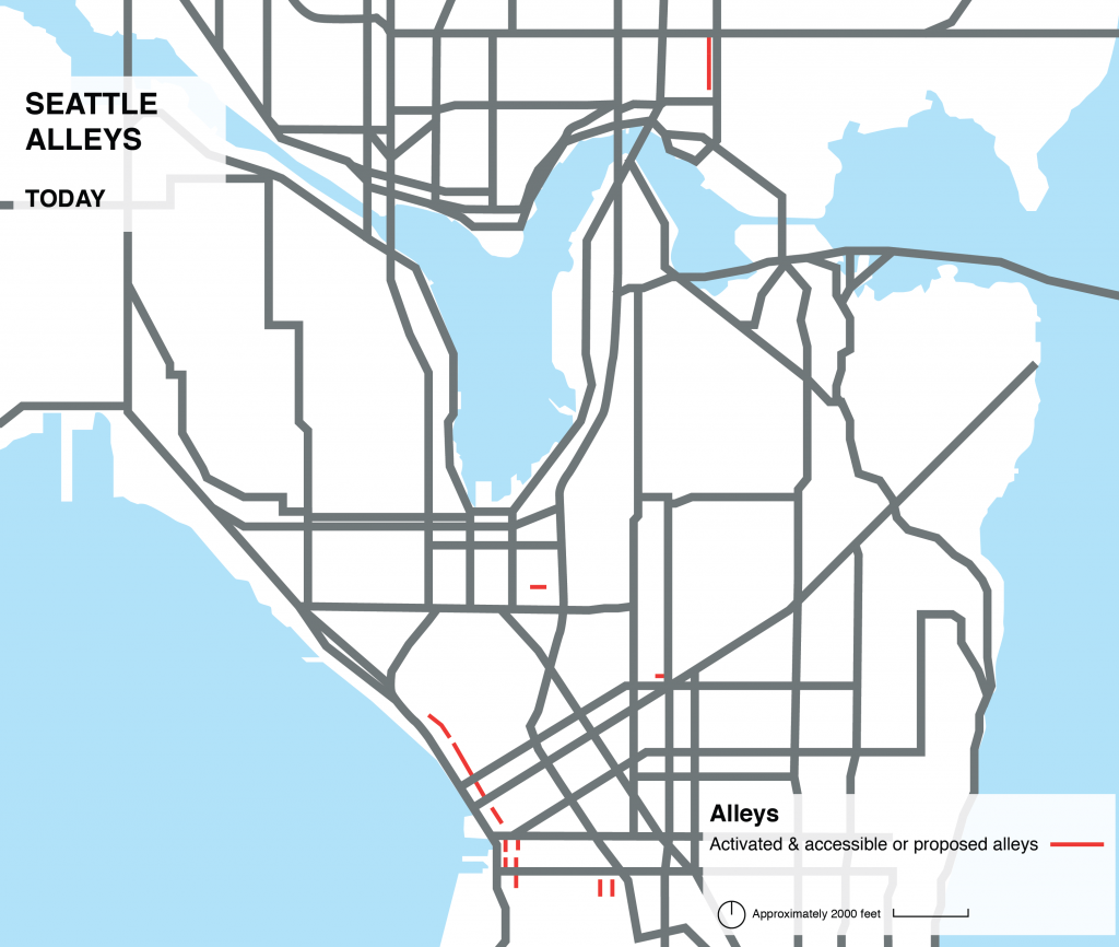Map of Seattle's alleys today.  Source: Alley Network Project / SvR Design Framework. The Seattle Times