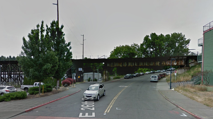 The G Street trestle today. (Google Maps)