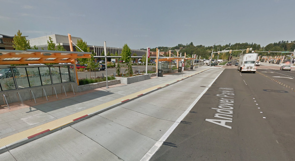 Transit bays with bike stalls and RapidRide features. (Google Streetview)